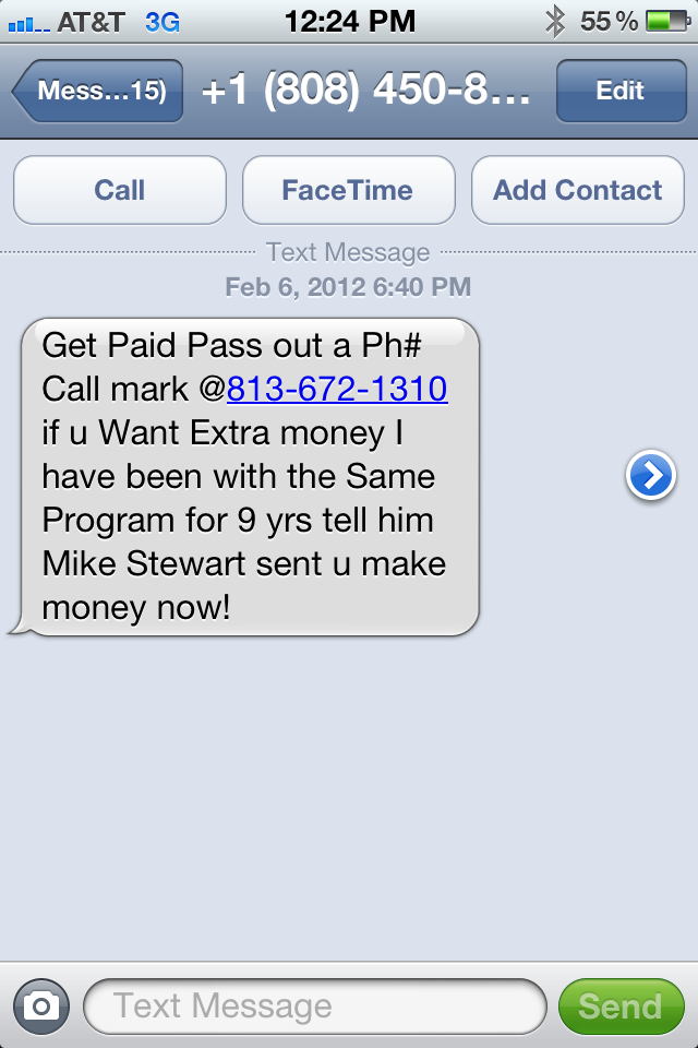 10 Digit Texting Number Spam